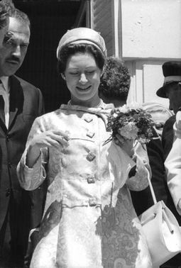 Princess Margaret with a bouquet.