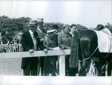 Maurice Harold Macmillan looking at horse with hes wife Lady Dorothy Macmillan. 1959