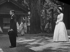 Prince Akihito and Princess Michiko on their wedding day.  - 1959