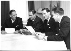 Experts from the National Police gather in Enkoping. Office Assistant B. Fransson First: from the left B. Fransson bureaucrats assistant, Detective Inspector O. Efraimsson, first secretary W. Borg and first secretary F. Grondahl.