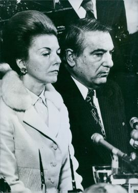 Former Argentina's President Isabel Martínez de P is seen with Raul Lastiri, one of her main advisers and the President of the Argentine constituent Assembly