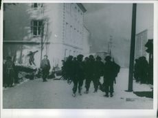 British troops mopping up in a raid on Germans in Norway.