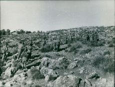 Soldiers walking on mountain.