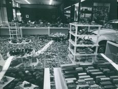 Miniature or model cars on display at a store in Tokyo, Japan.  - Jul 1968