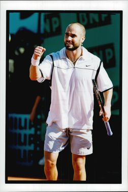 American tennis player Andre Agassi after the win in the final against Andreï Medvedev in French Open 1999