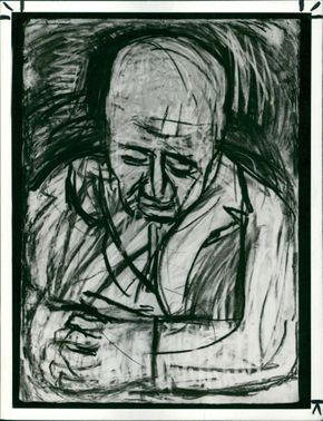 Father asleep in armchair, works by Leon Kossoff