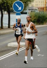 Kenyan Benson Masya (No. 2) participates during the Stockholm race.