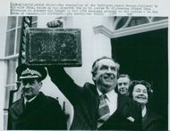 Denis Healey with his wife Edna off 10 Downing Street with this year's budget