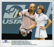 American tennis player Andre Agassi and Martina Hingis during Arthur Ashe Kid's Day at the US Open 1997