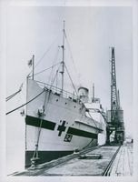 A hospital ship - newly painted with the Red Cross in River Thames ready to receive casualties.  - 1940