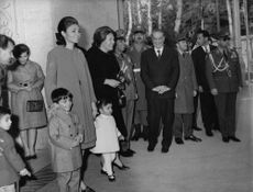 Farah Pahlavi with her two children, Reza and Farahnaz.  - Mar 1965