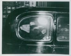 Stanley Baldwin, Prime Minister 3rd term, in the car on his way to a conference with Edward VIII before the Abdication. December 1936.