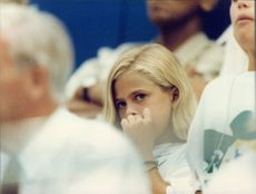 Princess Madeleine is sitting on the stadium during the Olympic Games final.