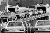 Volkswagen works in Wolfsburg. Finished cars roll out on the running belt