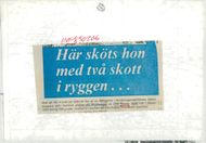 Newspaper clip from when Swedish adventure Jane Horney was shot in 1945.