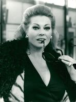 """Portrait picture of Anita Ekberg taken in connection with the """"Divorce"""" recordings in Rome."""