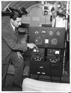 Radar Navigation demonstrated by a Vickers Viking, english airplane, B. Infield from Marconi at Bromma