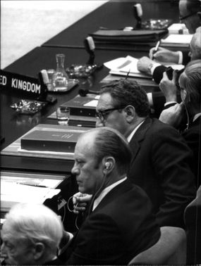 President Gerald Ford at a summit in Brussels