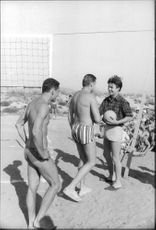 Jacques Charrier playing volleyball.