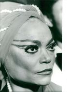Eartha Kitt in scarecrow, close-up