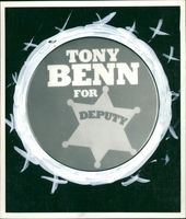Tony Benn badge.