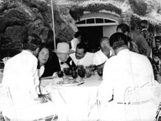 Winston Churchill with friends.