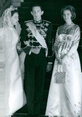 Prince Michael of Greece and his bride on their wedding day.