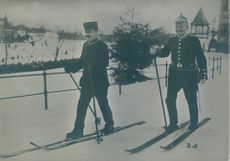 Two soldiers were sketting on icy road,1916.