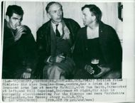 British Prime Minister Sir Alec Douglas-Home drinks a beer with Tom Smith and Bill Copeland at Drummond Arms Inn