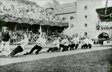The Swedish winners of the draw fight during the Olympic Games in Stockholm Stadium