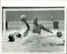 OS in Moscow 1980. Water Polo. Sergei Kotenko from the USSR is targeting Spain and Manuel Delgado