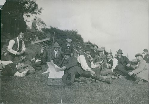 Soldiers resting in the field while relaxing in Sweden, 1914.