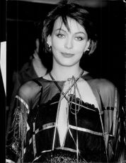 "Lesley-Anne Down arrives at the premiere of ""The Pink Panther Strikes Again"""