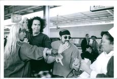 "Dustin Nguyen, Angelo Tiffe, Jason Schombing and Kellye Nakahara in ""3 Ninjas Kick Back"". 1994."