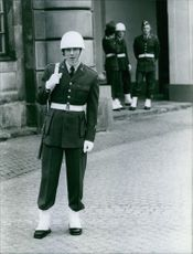 Picture of The guard standing in street and smiling while looking at the camera.  The guard