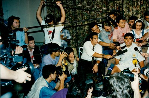 Diego Maradona during the press conference at the Sheraton Park Central Hotel