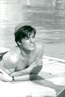 """Actor Alain Delon during the footage of the movie """"Step by Step"""""""