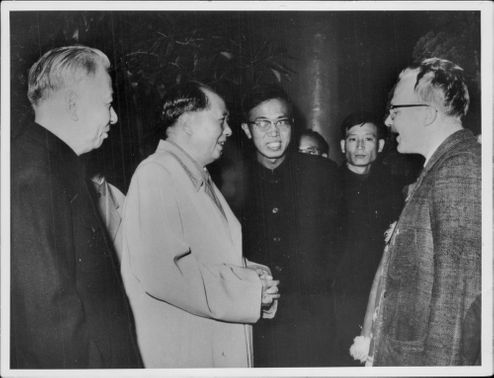 The author Jan Myrdal meets the party chairman Mao during his visit to China