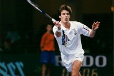 Tennis player Michael Stich in action
