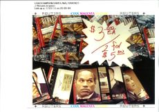 A selection of trading cards dealing with the O. J. Simpson.