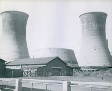 A picture of a industrial plant. Industrial plants around Fu Shun mine. This is exclusive photo of electric generating plant.  Japan, 1967.