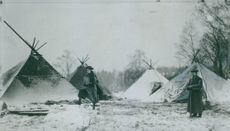 In front of the tent during Landsturm exercises.