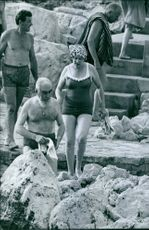 Nubar Sarkis Gulbenkian ready to swim with his family  and friends. 1964