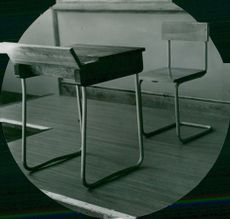 Chair and school bench at Nya Strängnäs Läroverket 1935.