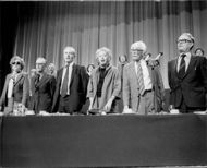 English politicians gathered at a meeting in Wembley.