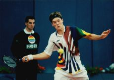 Action image of the Swedish tennis player Thomas Enqvist, taken in an unknown contest.
