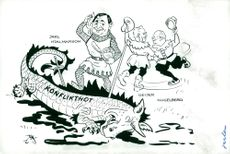 Satirical drawing by Jarl Hjalmarsson, party leader for the moderators