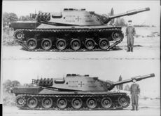 """""""M 70"""" armor in off-road mode with extremely magnified suspension as well as in folded down position"""