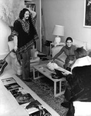 Princess Soraya of Iran talking to her husband Khosrow Jahanbani and another woman.  - Dec 1971