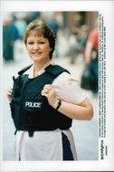 Female police show body protection wigs